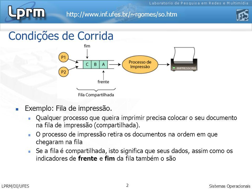 Condições de Corrida Exemplo: Fila de impressão.