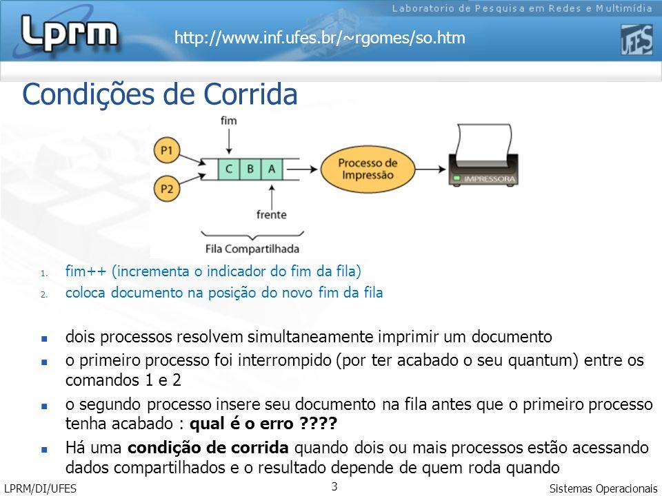 Condições de Corrida fim++ (incrementa o indicador do fim da fila) coloca documento na posição do novo fim da fila.