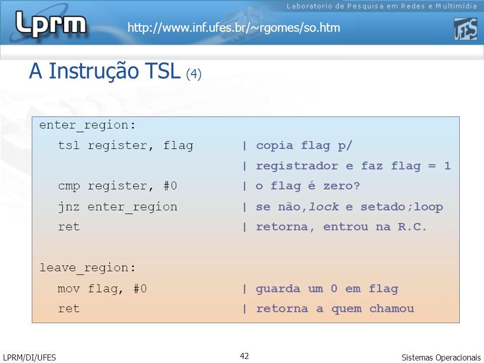 A Instrução TSL (4) LPRM/DI/UFES Sistemas Operacionais