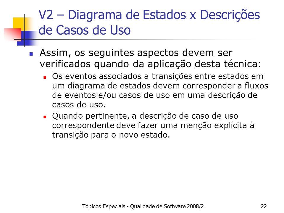 V2 – Diagrama de Estados x Descrições de Casos de Uso