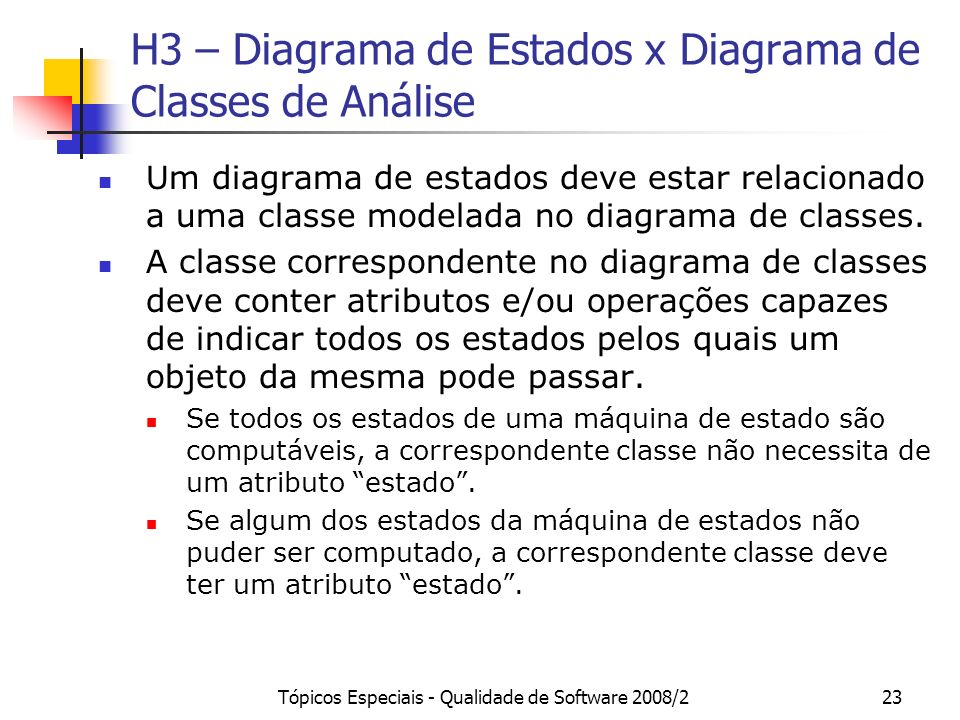 H3 – Diagrama de Estados x Diagrama de Classes de Análise