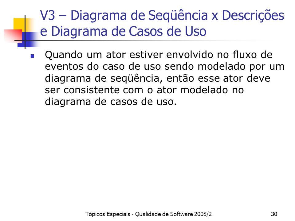 V3 – Diagrama de Seqüência x Descrições e Diagrama de Casos de Uso