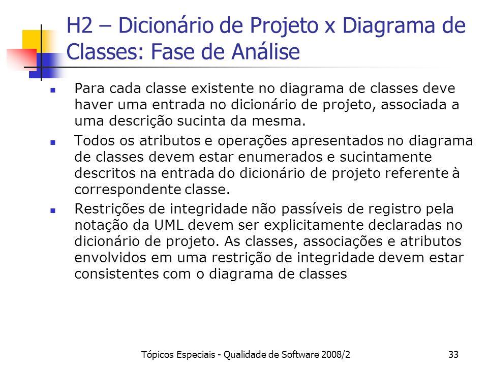 H2 – Dicionário de Projeto x Diagrama de Classes: Fase de Análise