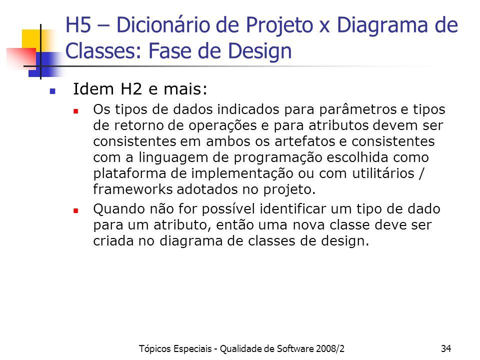 H5 – Dicionário de Projeto x Diagrama de Classes: Fase de Design