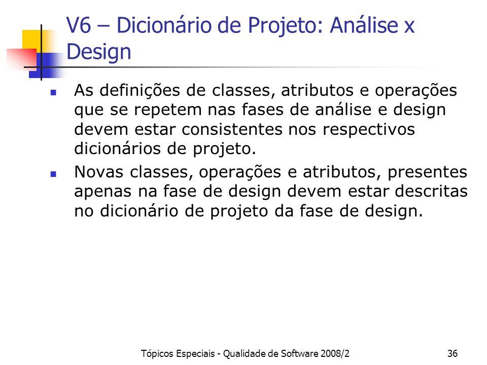 V6 – Dicionário de Projeto: Análise x Design
