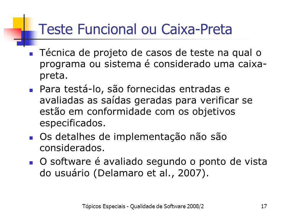 Teste Funcional ou Caixa-Preta