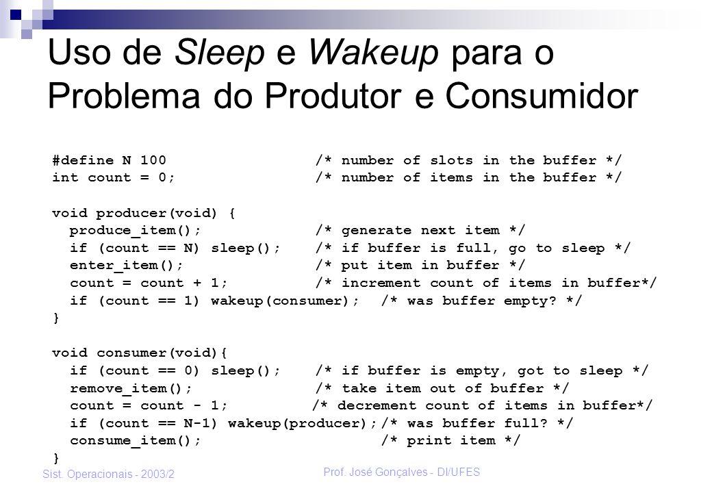 Uso de Sleep e Wakeup para o Problema do Produtor e Consumidor