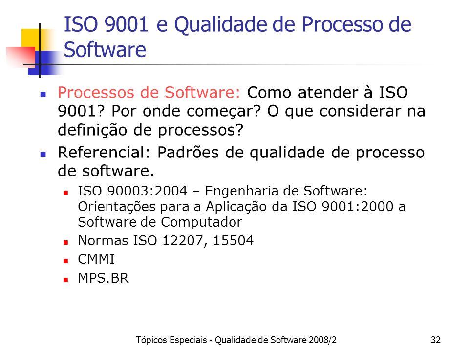 ISO 9001 e Qualidade de Processo de Software