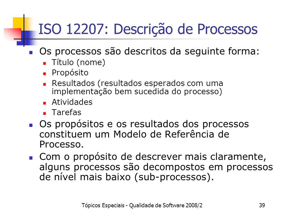 ISO 12207: Descrição de Processos