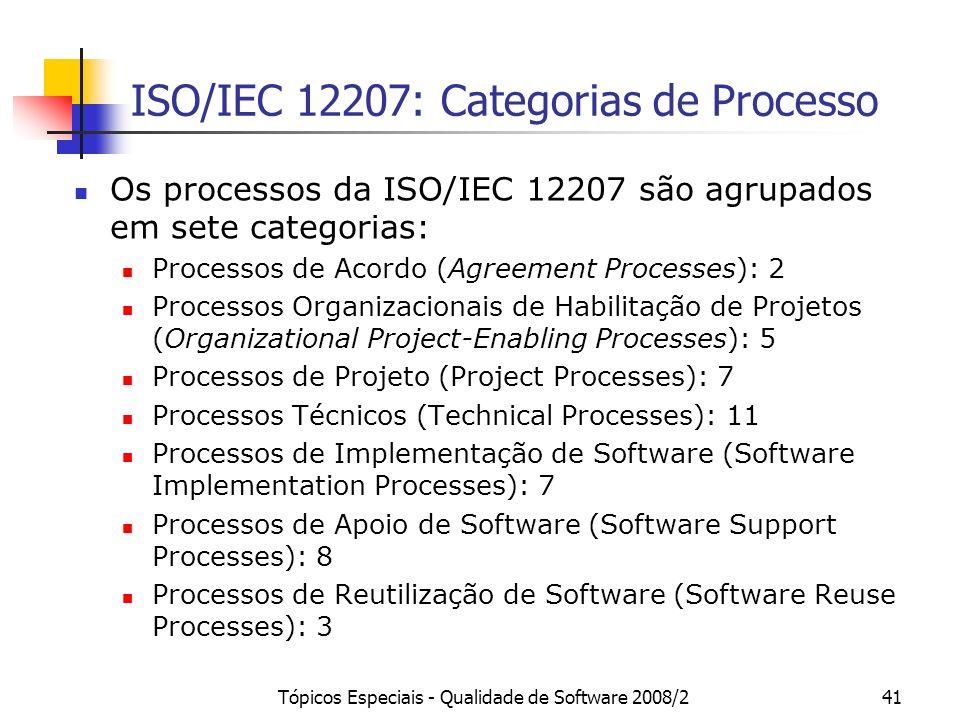 ISO/IEC 12207: Categorias de Processo