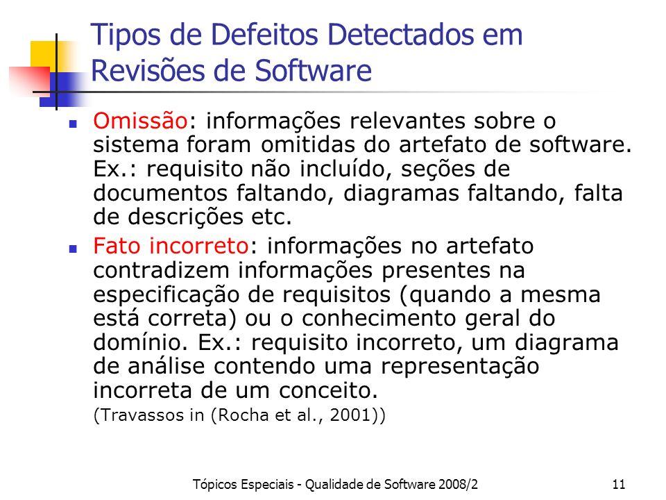Tipos de Defeitos Detectados em Revisões de Software