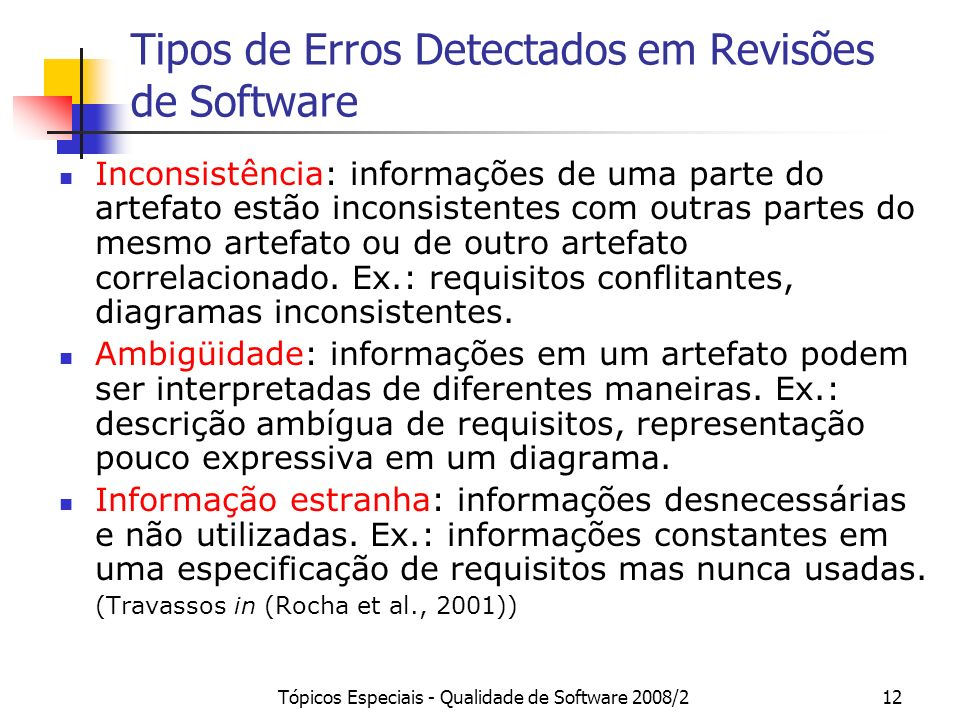 Tipos de Erros Detectados em Revisões de Software
