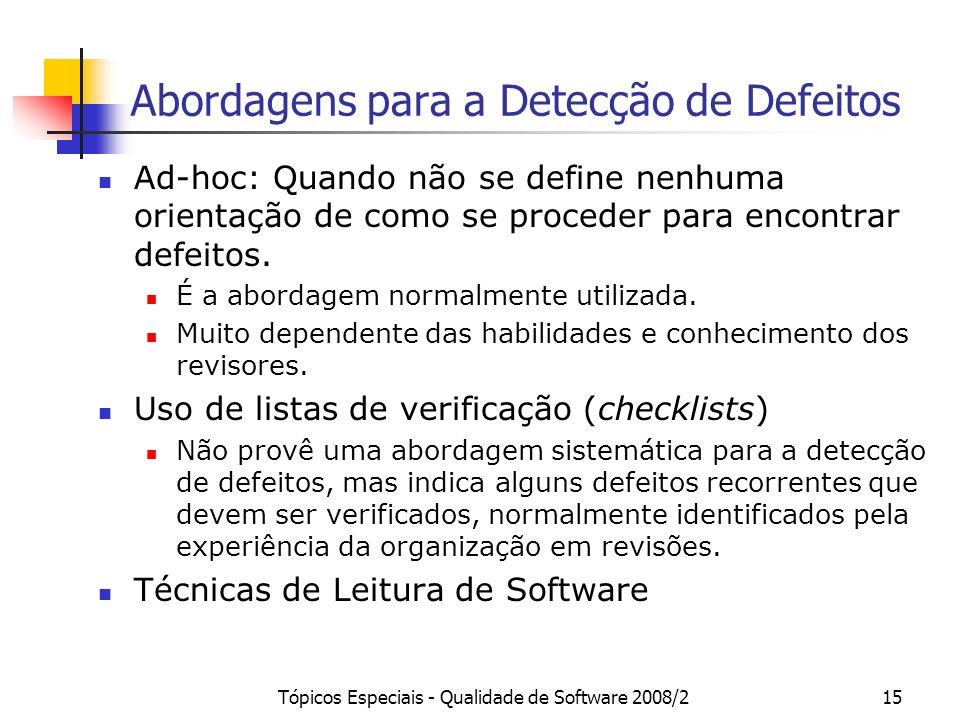 Abordagens para a Detecção de Defeitos
