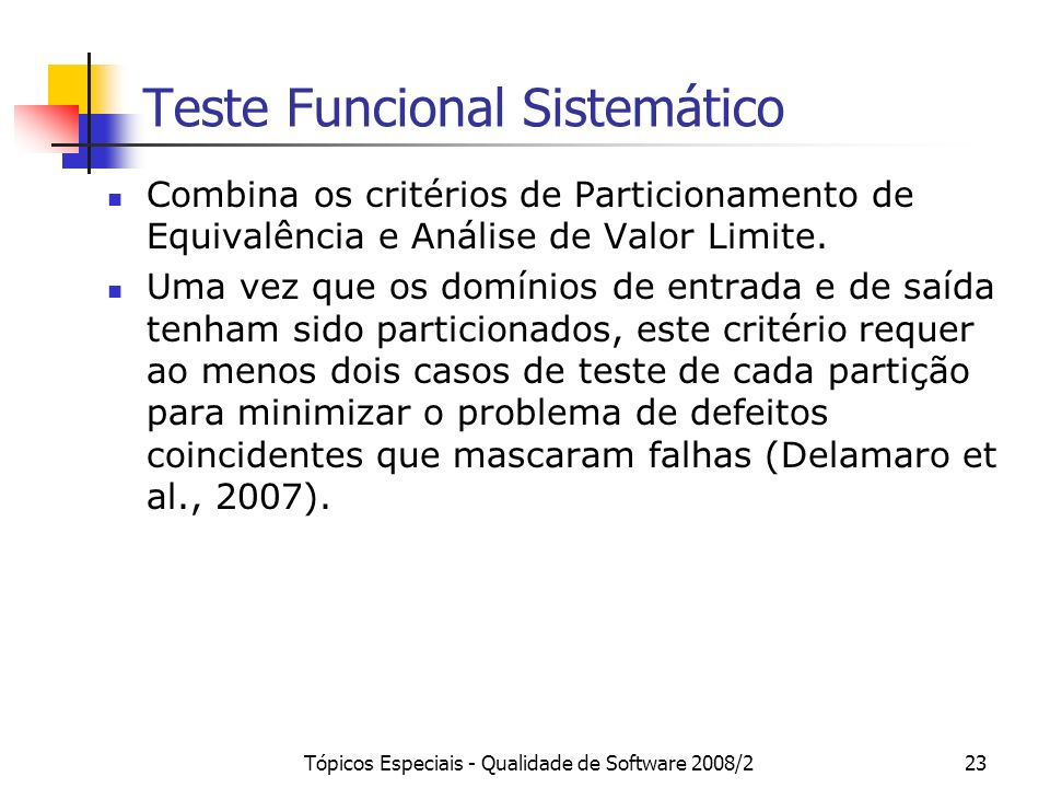 Teste Funcional Sistemático
