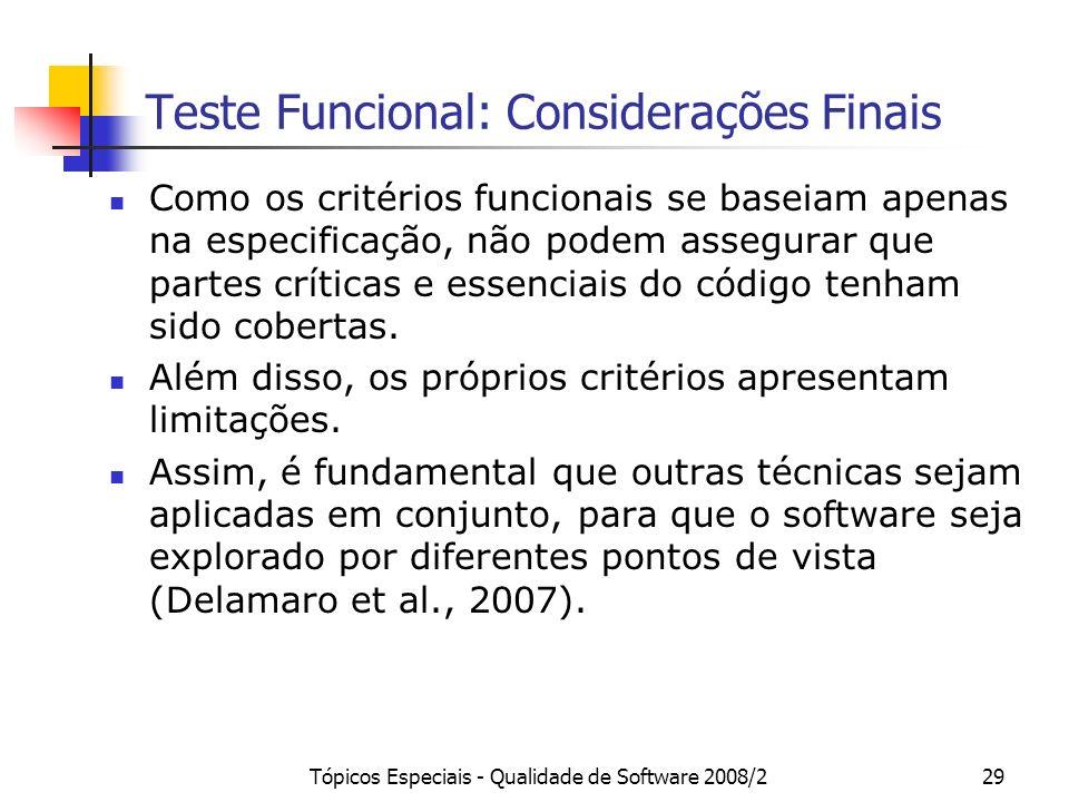 Teste Funcional: Considerações Finais