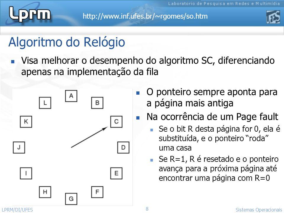 Algoritmo do Relógio Visa melhorar o desempenho do algoritmo SC, diferenciando apenas na implementação da fila.