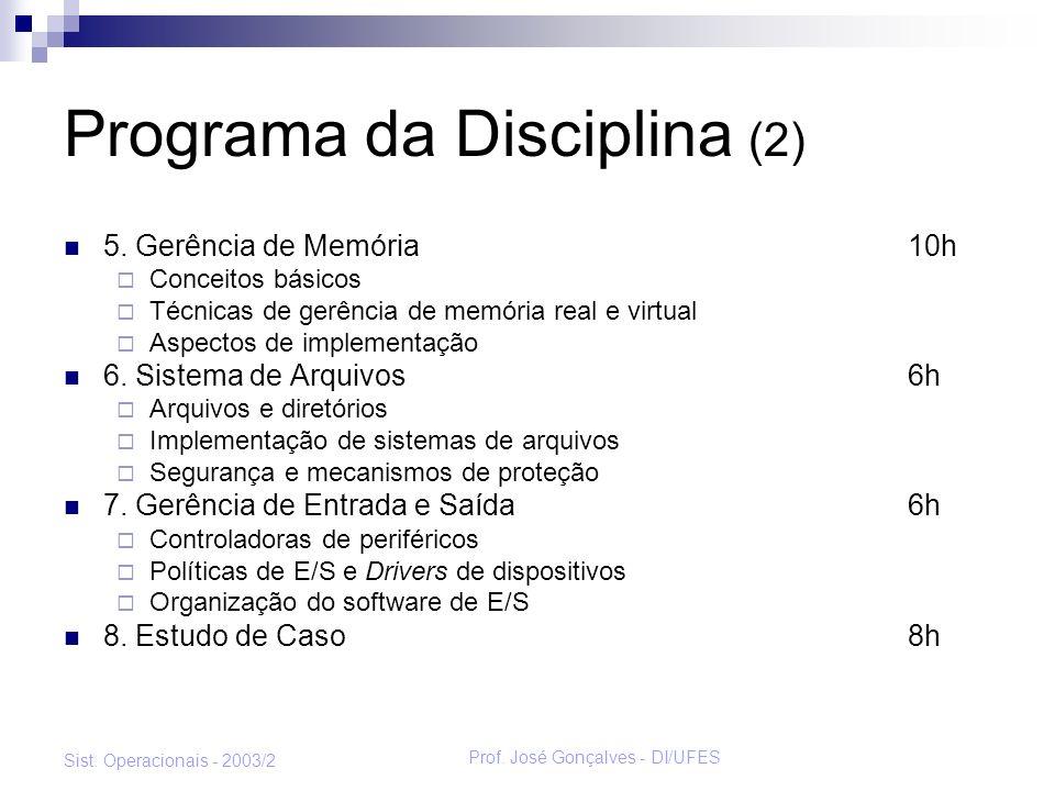 Programa da Disciplina (2)
