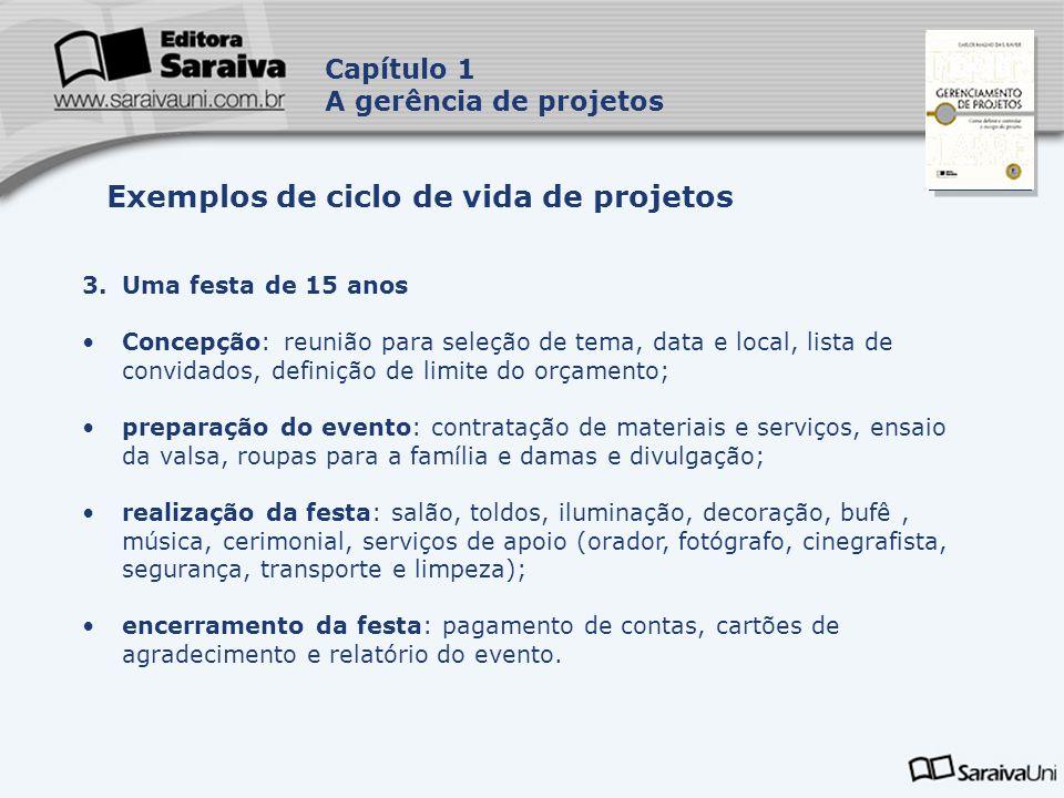 Exemplos de ciclo de vida de projetos
