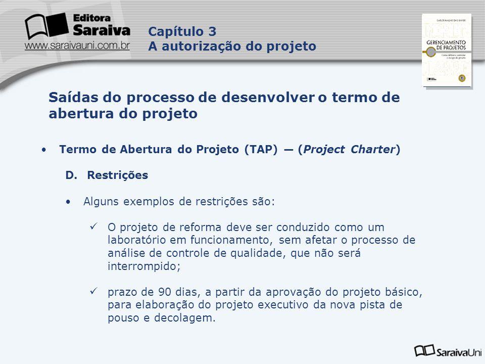 Saídas do processo de desenvolver o termo de abertura do projeto