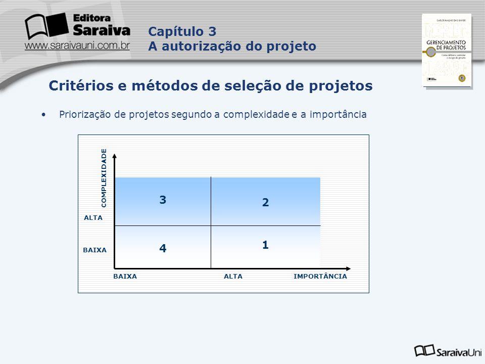 Critérios e métodos de seleção de projetos