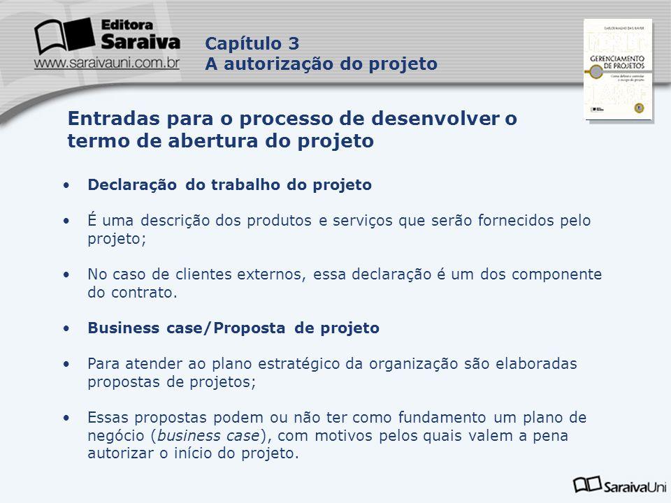 Entradas para o processo de desenvolver o termo de abertura do projeto