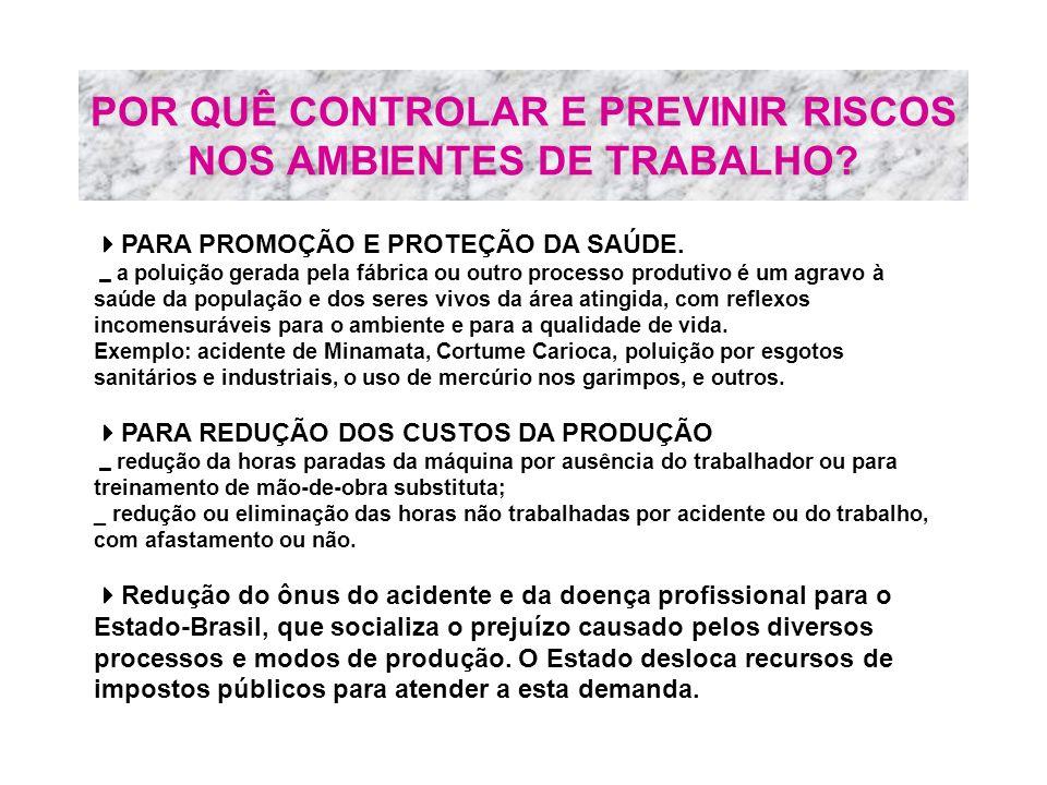 POR QUÊ CONTROLAR E PREVINIR RISCOS NOS AMBIENTES DE TRABALHO