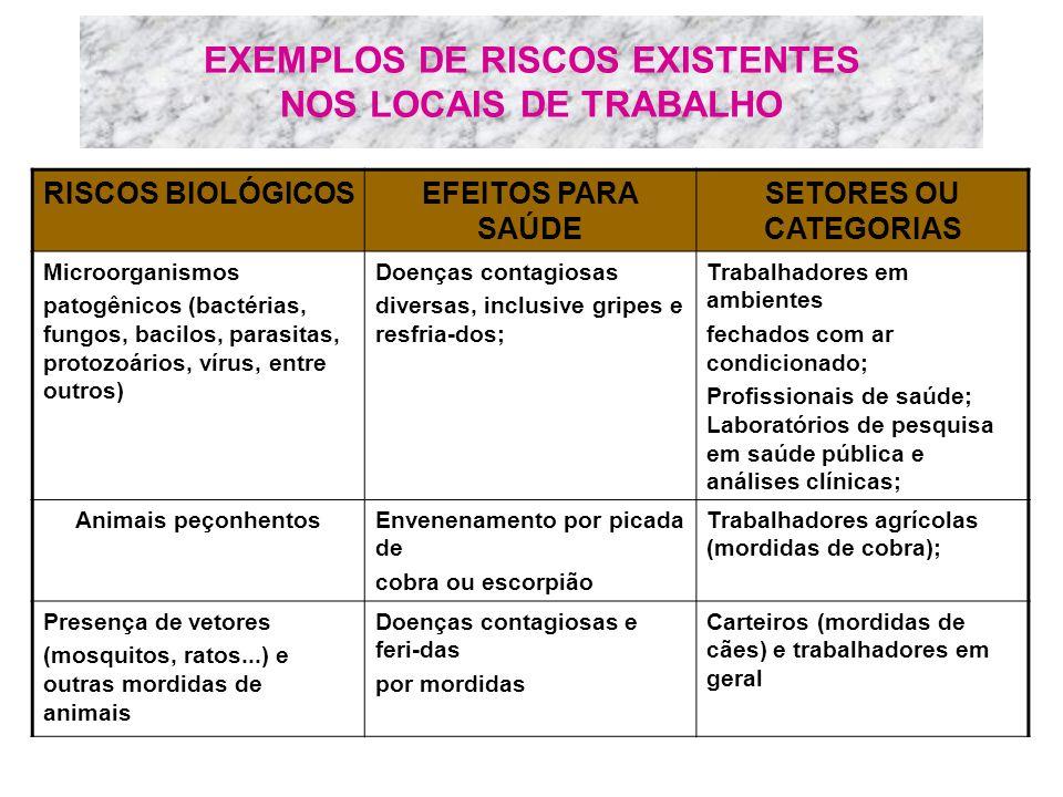 EXEMPLOS DE RISCOS EXISTENTES NOS LOCAIS DE TRABALHO