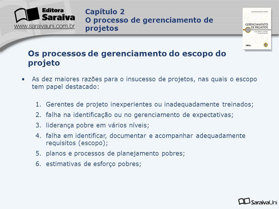 Os processos de gerenciamento do escopo do projeto