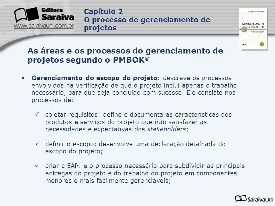 As áreas e os processos do gerenciamento de projetos segundo o PMBOK®