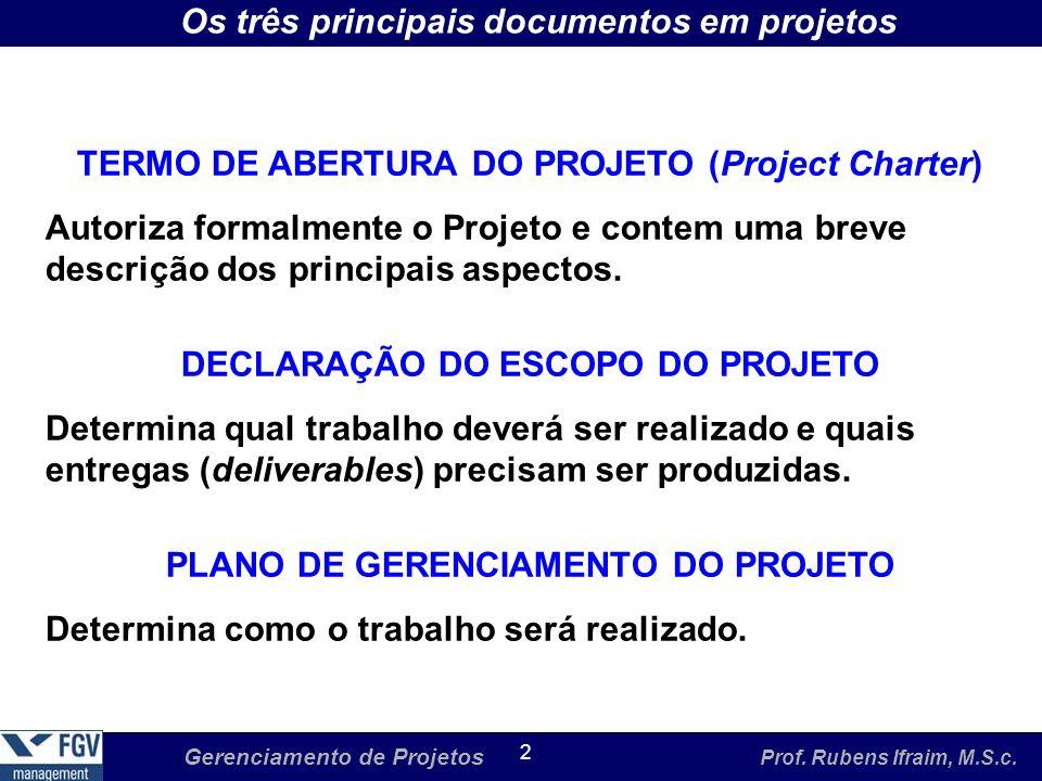 Os três principais documentos em projetos