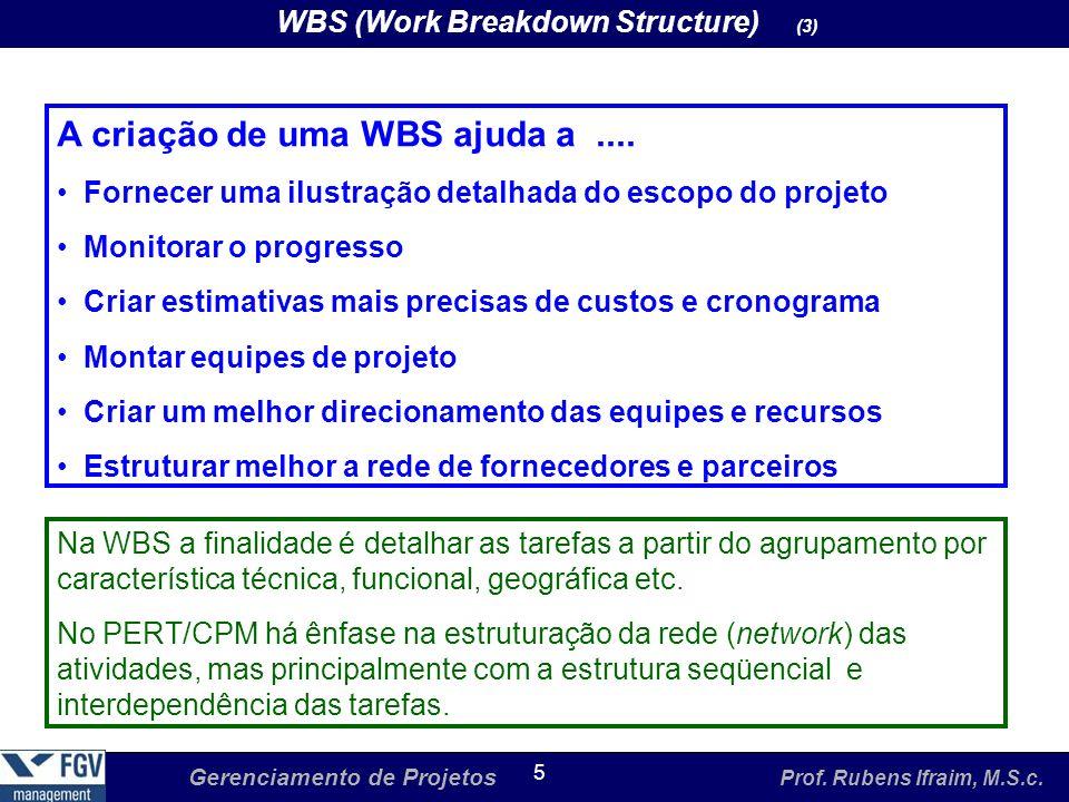 A criação de uma WBS ajuda a ....