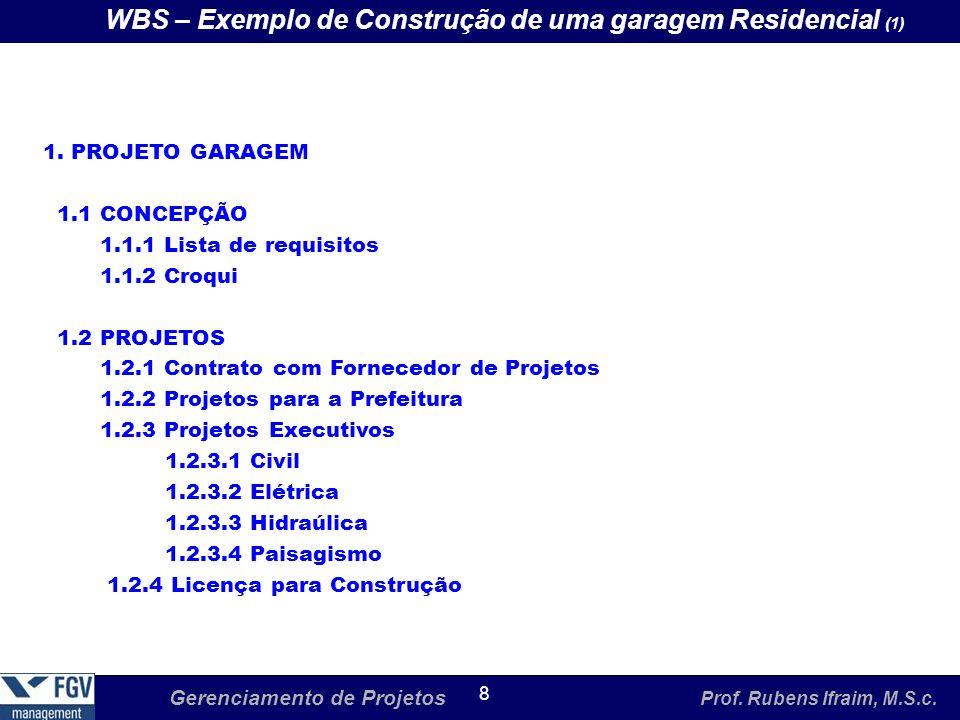 WBS – Exemplo de Construção de uma garagem Residencial (1)