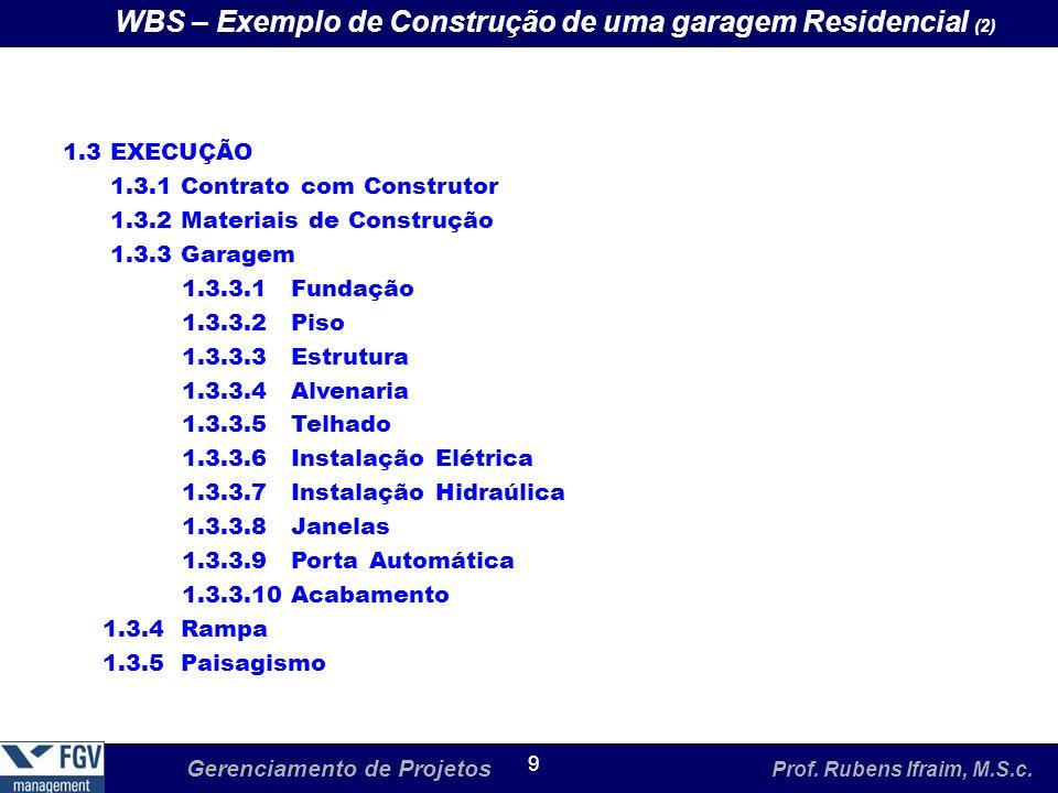 WBS – Exemplo de Construção de uma garagem Residencial (2)