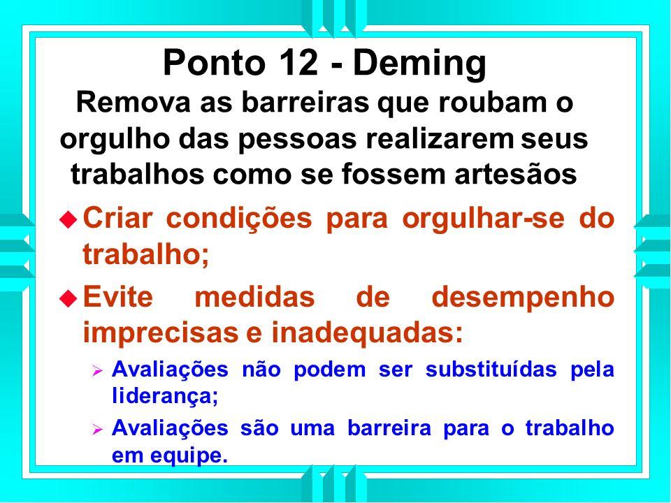 Ponto 12 - Deming Remova as barreiras que roubam o orgulho das pessoas realizarem seus trabalhos como se fossem artesãos