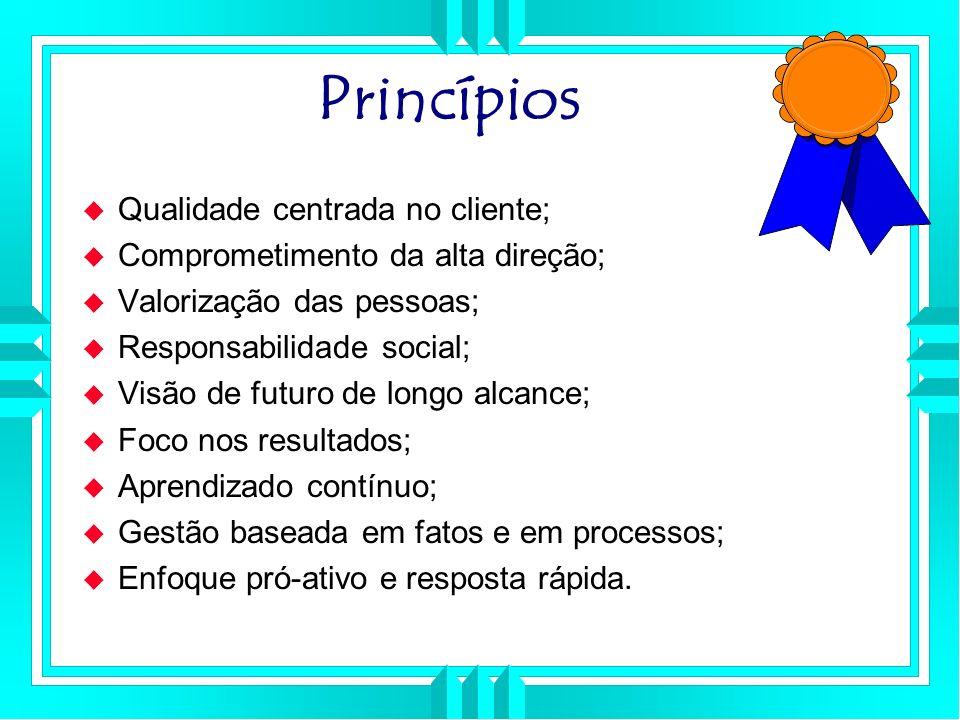 Princípios Qualidade centrada no cliente;