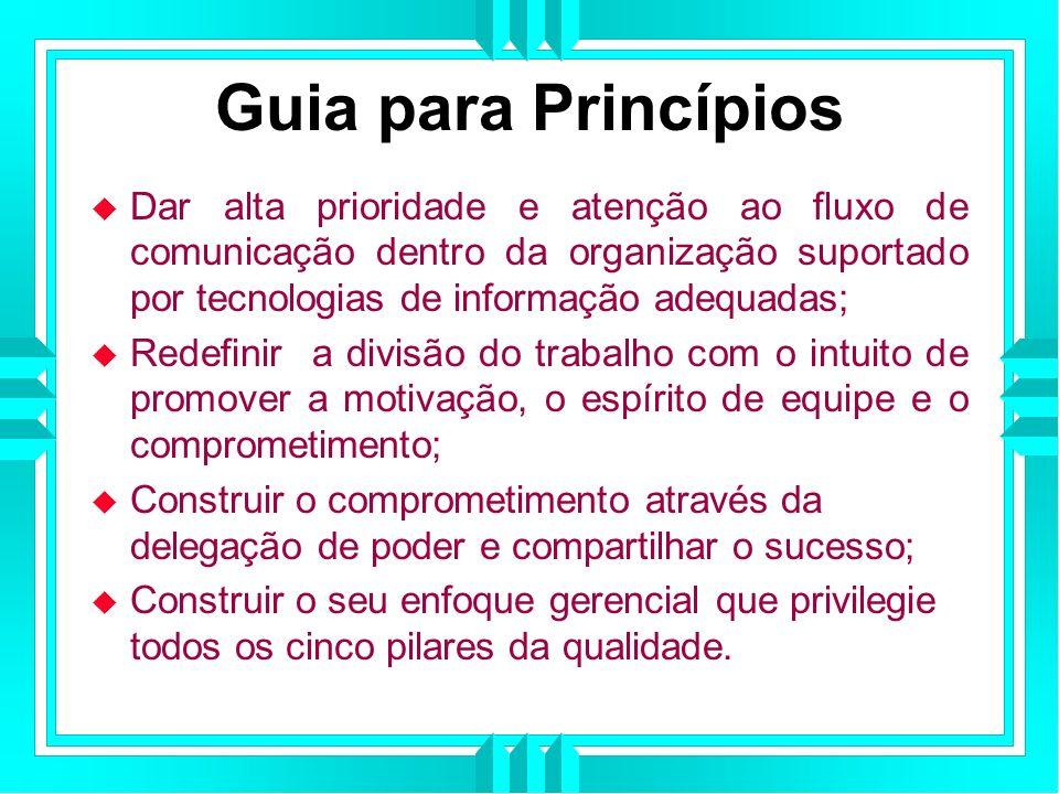 Guia para Princípios Dar alta prioridade e atenção ao fluxo de comunicação dentro da organização suportado por tecnologias de informação adequadas;