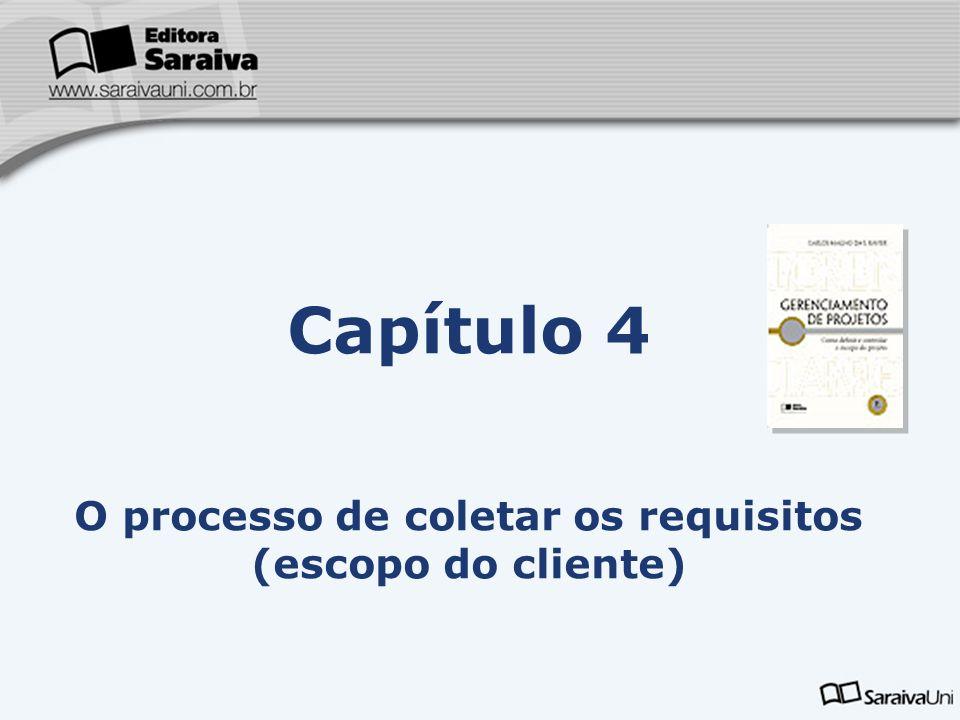 O processo de coletar os requisitos (escopo do cliente)