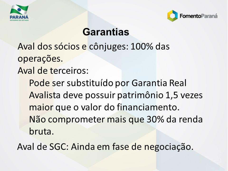 Garantias Aval dos sócios e cônjuges: 100% das operações. Aval de terceiros: Pode ser substituído por Garantia Real.