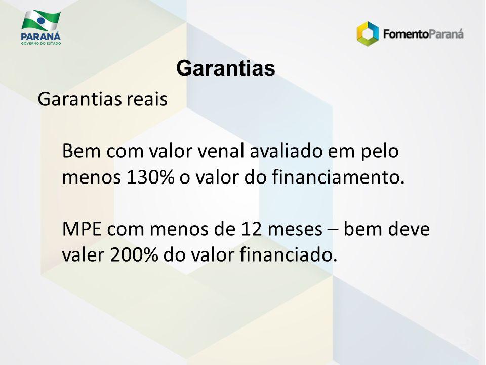 Garantias Garantias reais. Bem com valor venal avaliado em pelo menos 130% o valor do financiamento.