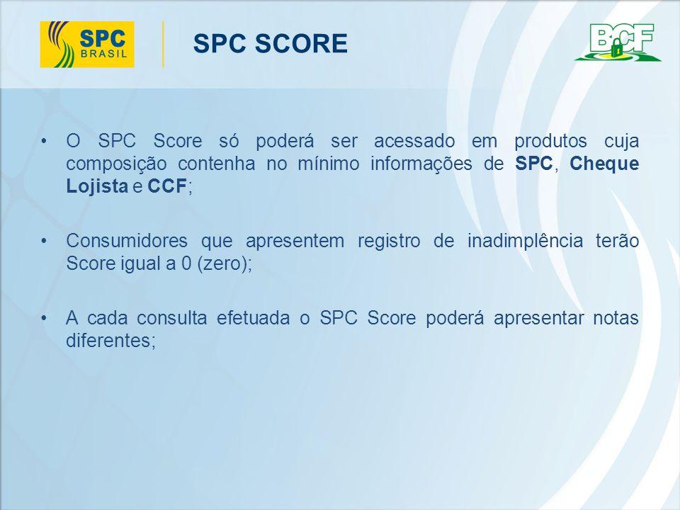 SPC SCORE O SPC Score só poderá ser acessado em produtos cuja composição contenha no mínimo informações de SPC, Cheque Lojista e CCF;