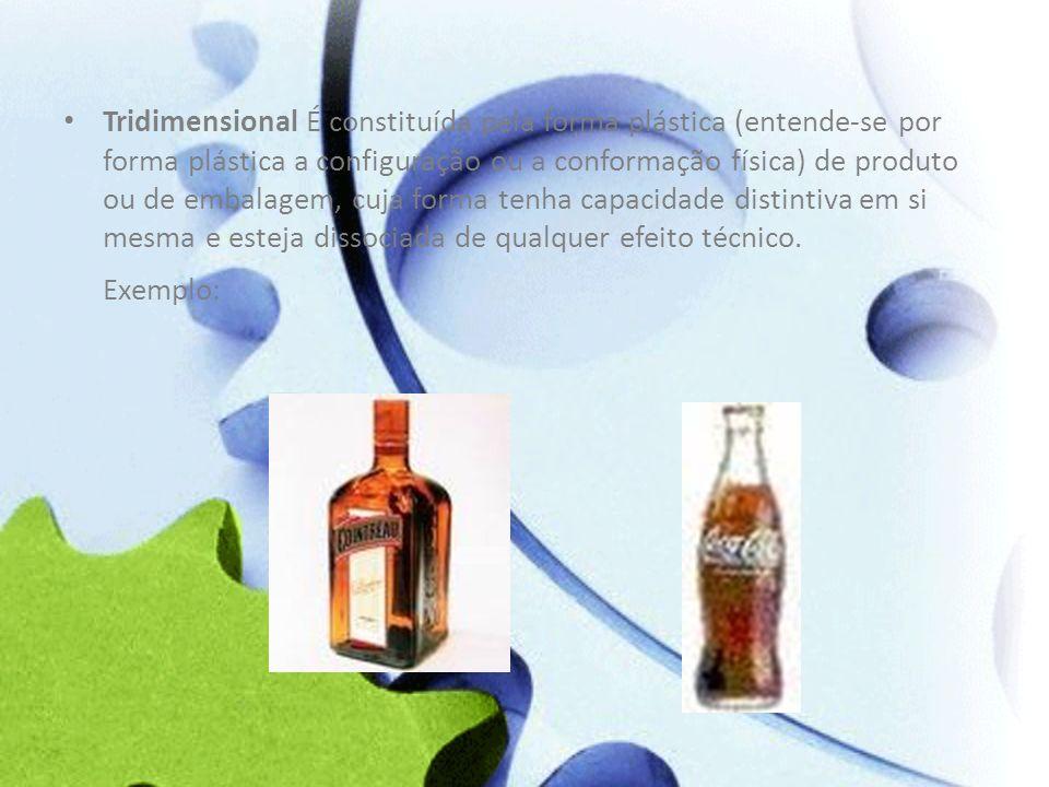 Tridimensional É constituída pela forma plástica (entende-se por forma plástica a configuração ou a conformação física) de produto ou de embalagem, cuja forma tenha capacidade distintiva em si mesma e esteja dissociada de qualquer efeito técnico.