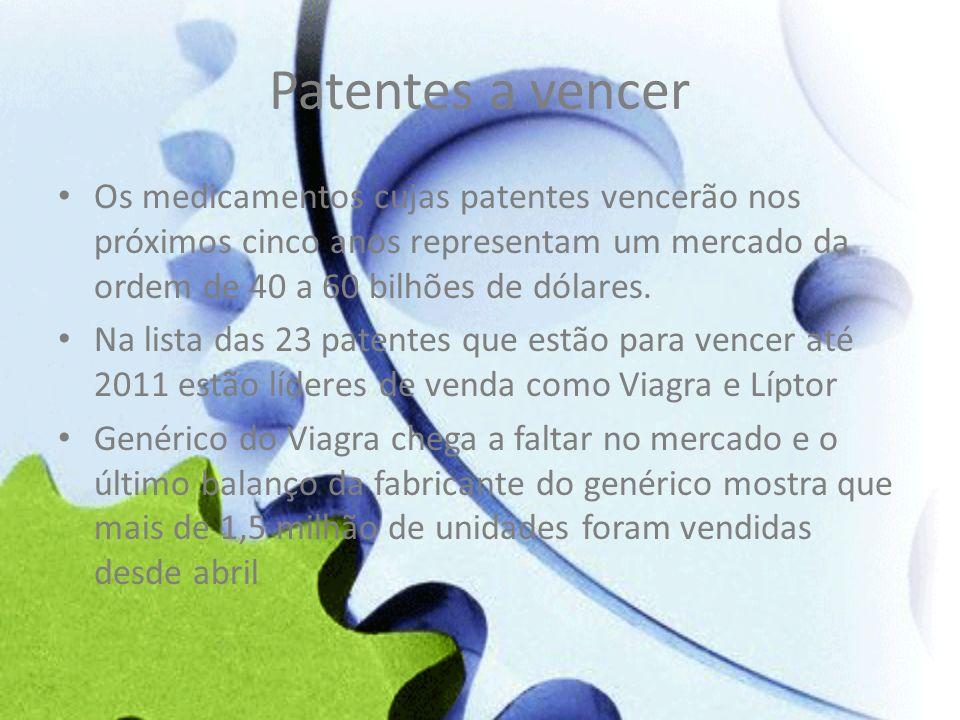 Patentes a vencer Os medicamentos cujas patentes vencerão nos próximos cinco anos representam um mercado da ordem de 40 a 60 bilhões de dólares.
