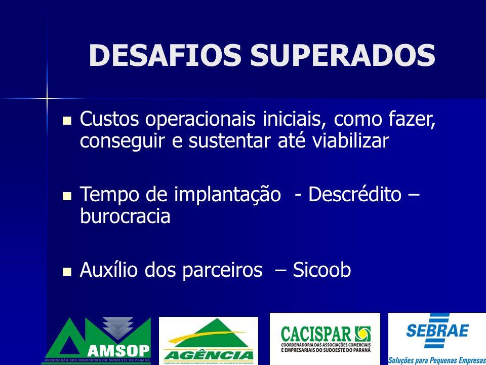 DESAFIOS SUPERADOS Custos operacionais iniciais, como fazer, conseguir e sustentar até viabilizar. Tempo de implantação - Descrédito – burocracia.