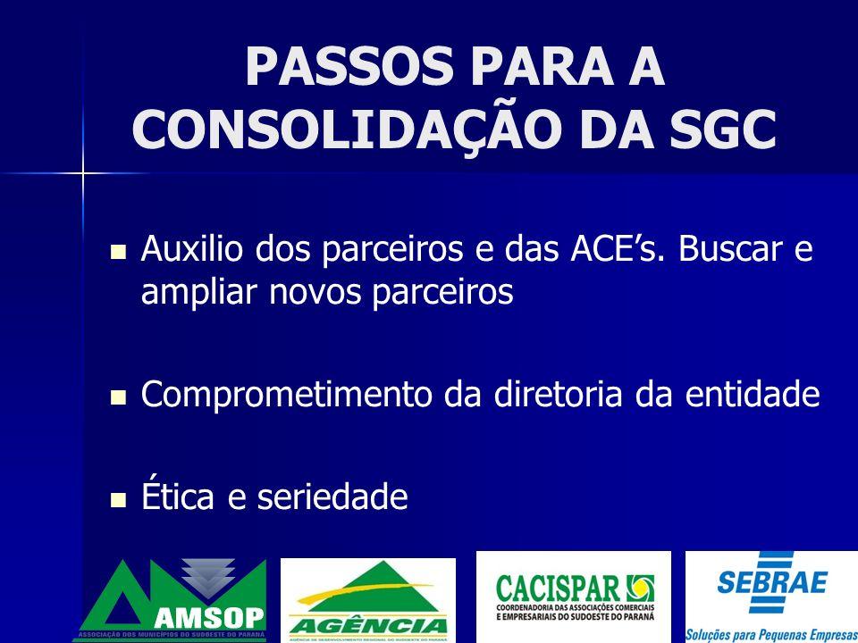 PASSOS PARA A CONSOLIDAÇÃO DA SGC