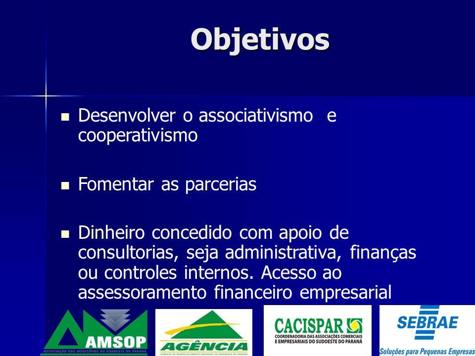 Objetivos Desenvolver o associativismo e cooperativismo