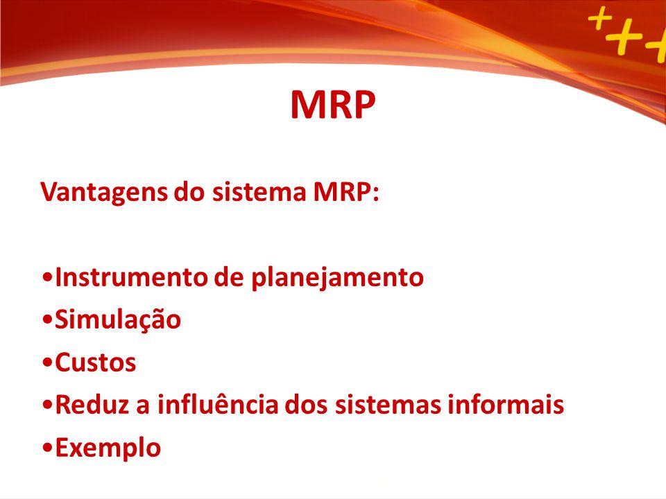 MRP Vantagens do sistema MRP: Instrumento de planejamento Simulação