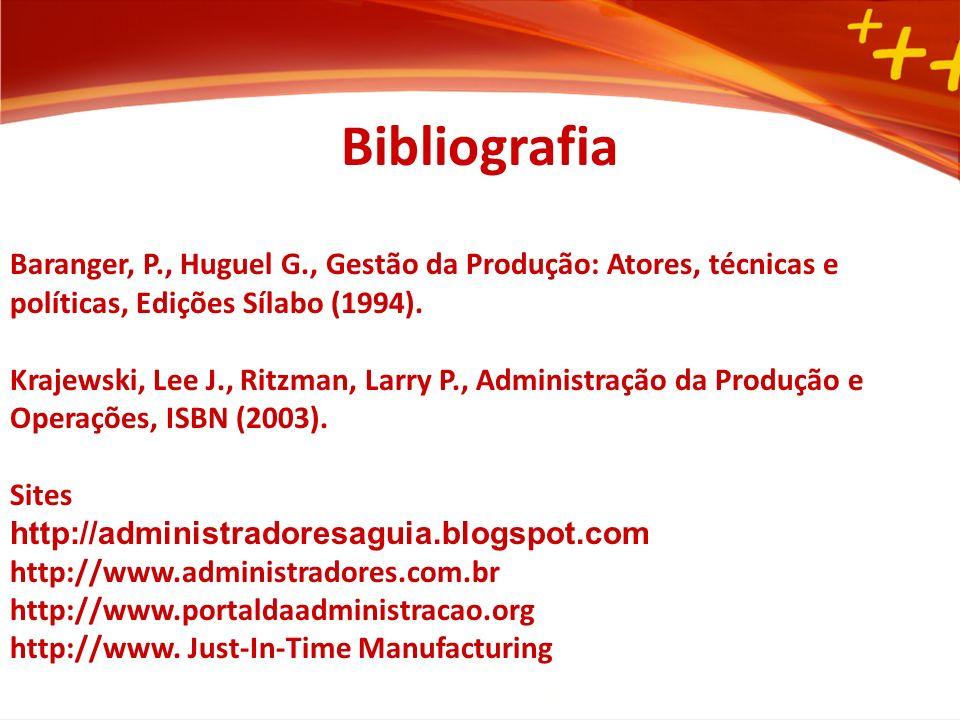 Bibliografia Baranger, P., Huguel G., Gestão da Produção: Atores, técnicas e políticas, Edições Sílabo (1994).