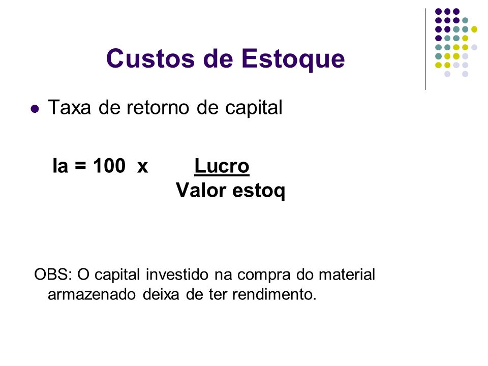 Custos de Estoque Taxa de retorno de capital