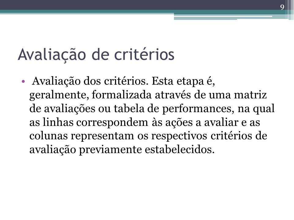 Avaliação de critérios