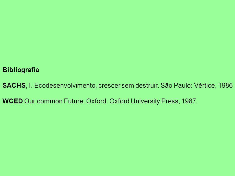 Bibliografia SACHS, I. Ecodesenvolvimento, crescer sem destruir. São Paulo: Vértice, 1986.